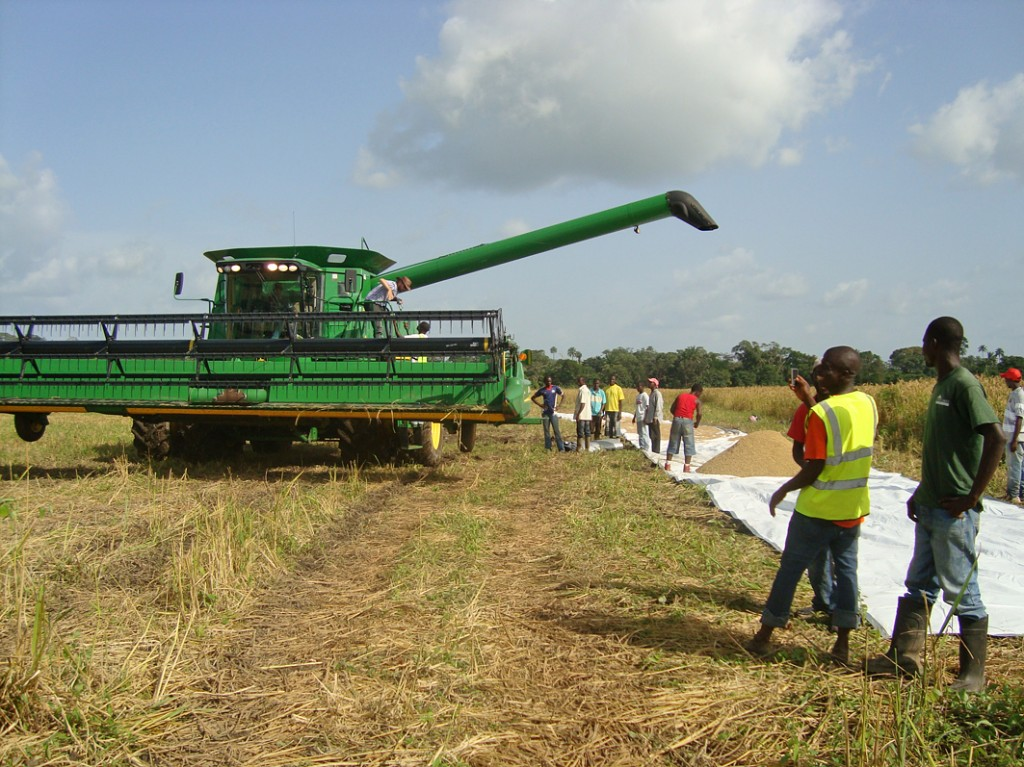 Combine harvester by drying boards in Liberia